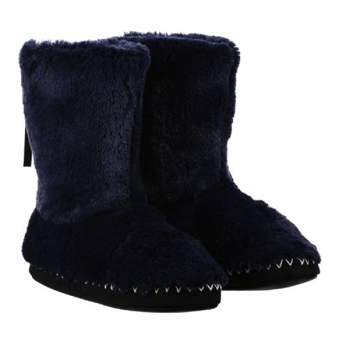 ANIMAL WOMENS SLIPPER BOOTS.NEW BOLLO NAVY BLUE FAUX FUR LINED SLIPPERS 8W 15 F9